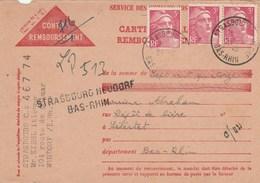 Carte Contre Remb. : Aff. Provisoire : Strasbourg Neudorf Bas-Rhin Pour Selestat - Storia Postale
