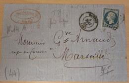 LAC, N°14B, Nantes à Marseille, 04-0-61 (B42-L6) - Postmark Collection (Covers)