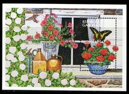 GABON - FLOWERS FLEURS  INSECTS INSECTES BUTTERFLIES BUTTERFLY BEES BEE ABEILLES SHEET RARE MNH - Schmetterlinge