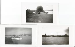 Photo - Lot De 3 Photos - Le Bac Sur Le Rhin à Huningue - Trains