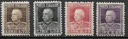 REGNO D'ITALIA 1927 EFFIGE DI V.EMANUELE III SASS. 214-217 MLH VF - Nuovi