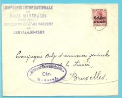 """BZ 3 Op Brief Stempel GENVAL, Hoofding """"Compagnie Internationale Des Eaux Minerales GENVAL-LES-EAUX""""  (VK) - [OC1/25] General Gov."""