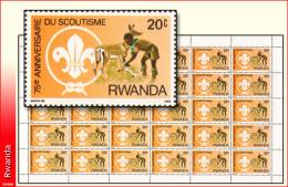 Rwanda 1141** 20c  Scoutisme  Sheet / Feuille De 30  MNH - 1980-89: Neufs