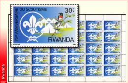 Rwanda 1142** 30c  Scoutisme  Sheet / Feuille De 30  MNH - 1980-89: Neufs