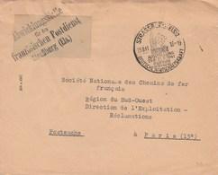 Lettre De Strasbourg Pour Le Service Postale Français - Marcophilie (Lettres)
