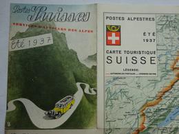 OHM Postes Suisses Services D'autocar Des Alpes été 1937 Dépliant Couleurs Carte Touristique Postes Alpestres - Dépliants Touristiques