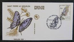 ST PIERRE ET MIQUELON - 1991 - FDC 534 - PAPILLON - FDC