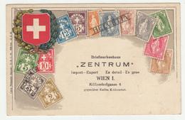 Helvetia Stamps, Briefmarkenhaus Zentrum, Wien Old Postcard Travelled 1925? B190401 - Timbres (représentations)