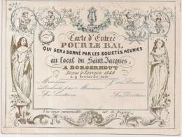 "ANTWERPEN-ANVERS-BORGERHOUT "" CARTE D'ENTREE-TOEGANGSKAART -BAL -1846""LITH.DE BROUWERS-130/97MM - Porcelana"