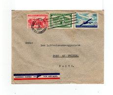 Env. Correo Aereo Via Air Mail Avec 3 Timbres République Dominicaine Dont 1 Correo Aero. CAD 1936. Pour Haîti. (2113x) - Repubblica Domenicana
