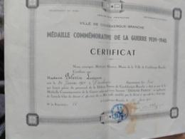 Coudekerque Branche - Certificat De La Médaille De La Défense Passive 1939 - 1945. Peu Courant - Historische Dokumente