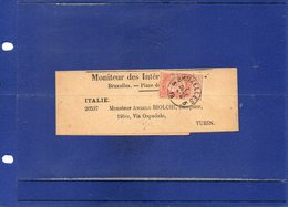 ##(DAN195)-POSTAL HISTORY-Belgium - Bruxelles  -  Newspaper Wrapper  To Torino - Italy - 1893-1800 Fijne Baard