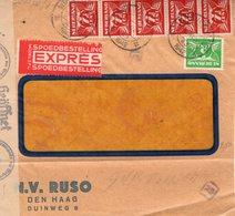 1942 Voorfront Van Vensterenvelop  Met Censuur Per Expres Van Den Haag - Periode 1891-1948 (Wilhelmina)