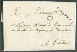 LAC De BEAUREPAIRE Via (griffe Noire) ESSONNE 17 Oct. (ca.) Vers Courtray (Belgique); Port '6' - TB - 13794 - Poststempel (Briefe)