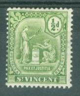 St Vincent: 1909/11   Emblem (insc. 'Postage Revenue')   SG102     ½d   MH - St.Vincent (...-1979)
