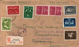1943 Aangetekende Brief Met Censuur Met Serie 405-411 Naar München En Door Naar Sigmaringen - Periode 1891-1948 (Wilhelmina)
