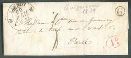 LAC De GUIGNICOURT (boîte Rurale G) 27 Avril 1839 Via (dc) LAUNOY * Vers Paris; Port '5' Décimes /1 D. Rural- TB - 13796 - Marcophilie (Lettres)