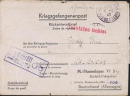Guerre 39 45 Prisonnier Français Interné Stalag VI J Krefeld Fichtenhain Censure Illustrée 36 Fruit Pomme Poire Henin 62 - Alemania