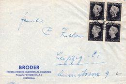 1946  Firmaenvelop Van Amsterdam Met Blok Van 4 Wilhelmina Nvph 475 Naar Leipzig - Periode 1891-1948 (Wilhelmina)