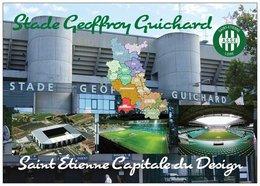 Stade De Football - Stade Geoffroy Guichard - SAINT-ÉTIENNE - Carte Géo De La Loire  Capitale Du Design - Cpm - Vierge - - Soccer