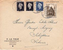 1948 Brief Met Firmalogo En Mengfrankering Van Leiden Naar Zwitserland - Periode 1891-1948 (Wilhelmina)