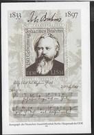 D.D.R. - JOHANNES BRAHMS - 150° NASCITA - FOGLIETTO NUOVO ** - (YVERT BF67 - MICHEL BF69) - Musica