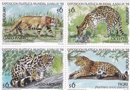 Uruguay YV 1730/3 MNH 1998 Félins - Big Cats (cats Of Prey)