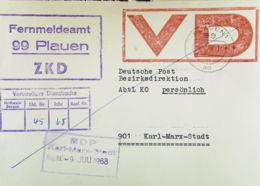 DDR: ZKD-Postsachen-Fern-Brief Mit Viol. ZKD-Kast-St. Mit VD-St. (herrlicher Farbabdruck) Aus Plauen 1 V. 8.7.68 Knr: VD - [6] República Democrática