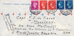 1948 Luchtpostbrief Met Mengfrankering  Van Amsterdam Naar Rio De Janeiro - Periode 1891-1948 (Wilhelmina)