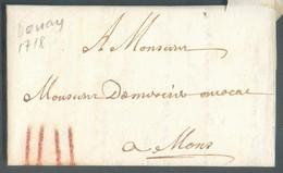 LAC De Douay Le 7 Octobre 1718 Vers Mons; Port 'IIII' (craie Rouge) - TB - 13806 - 1701-1800: Vorläufer XVIII