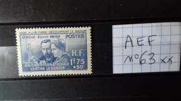 """AFRIQUE EQUATORIALE FRANCAISE  """"PIERRE ET MARIE CURIE"""" N°63** - Unused Stamps"""