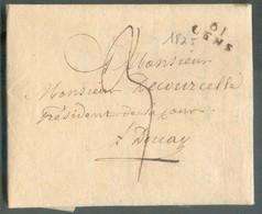 LAC De 61 LENS (griffe Noire) Le 10 Avril 1825 Vers Douay; Port '3' (encre) - TB - 13809 - Postmark Collection (Covers)