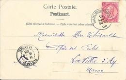 NAMUR (STATION)  1903 -  POUR LA FRANCE - CACHET ARRIVEE RECETTE N° R A3  REIMS MARNE - SUR CP NAMUM CORPS DE GUARDE - Marcophilie