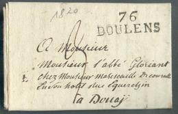 LAC De 76 BOULENS (griffe Noire) Le 9 Février 1820 Vers Douay; Port '3' (encre) - TB - 13810 - Poststempel (Briefe)