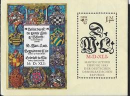 D.D.R. - 500° ANNIVERSARIO NASCITA MARTIN LUTERO - FOGLIETTO NUOVO **-  (YVERT BF71 - MICHEL BF73) - Cristianesimo
