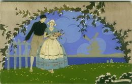 MESCHINI - COUPLE - EDIT ARS NOVA  - DIPINTA A MANO / HAND PAINTED - 1920s (BG180) - Andere Illustrators