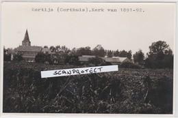 KORTIJS-CORTHUIS-KERK-ORIGINELE FOTO EIND JAREN 60-POSTKAARTFORMAAT-UNIEK DOCUMENT-ZIE DE 2 SCANS ! ! - Gingelom