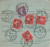 """N° 221 """"9"""" Fermé : Bulletin D'expédition De Villé Pour Haguenau - Variétés: 1921-30 Lettres & Documents"""