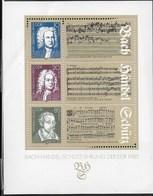 D.D.R. - MUSICISTI TEDESCHI 1985 - FOGLIETTO NUOVO **-  (YVERT BF80 - MICHEL BF81) - Musica