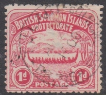 British Solomon Islands SG 2 1907 Large Canoe 1d Rose-carmine, Used, Small Thin - British Solomon Islands (...-1978)