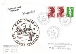 RHM Centaure Aux Kerguelen 1990 - TAAF Port-aux-Français - Remorqueur Marine Nationale - Navale - Manchot - French Southern And Antarctic Territories (TAAF)