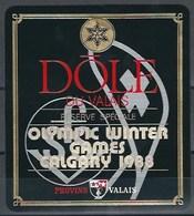 Etiquette De Vin Du Valais  * Olympic Winter Games Calgari 1988  * - Etiquettes