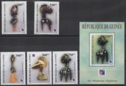 Guinée Guinea 1999 Mi. 2458-2462 + Bl. 596 Philexfrance Art Moderne Guinéen Kunst Artwork Exhibition Sculptures RARE !! - Guinea (1958-...)