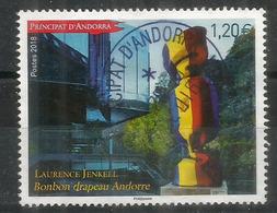 Bonbon Drapeau Andorre (sculpture Laurence Jenkell), 2018, Timbre Oblitéré 1 ère Qualité - Used Stamps