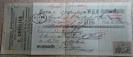 Ancien Reçu - C Groslier - Caoutchouc Manufacturé Pour Vélocipèdes - Paris - 1896 - 1900 – 1949