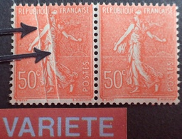 R1934/42 - TYPE SEMEUSE LIGNEE - (PAIRE) N°199 TIMBRES NEUFS** - VARIETE ➤➤➤ Double Pli Accordéon - Abarten Und Kuriositäten