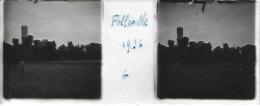 Plaque De Verre Stéréoscopique Positive - Année 1936 - Folleville - Vue Sur Le Château - Diapositiva Su Vetro