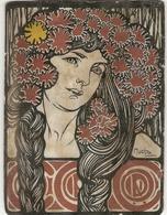 Gravure Encollée Mucha Identique à La Couverture Cocorico N°62 1 Er Et 15 Avril 1902 Art Nouveau - Zeichnungen