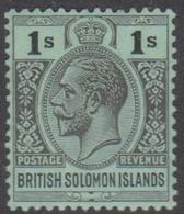 British Solomon Islands SG 48 1927 King George V, One Shilling Black Emerald, Mint Hinged - British Solomon Islands (...-1978)