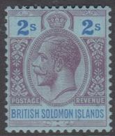 British Solomon Islands SG 49 1927 King George V, Two Shilling Purple And Blue, Mint Hinged - British Solomon Islands (...-1978)